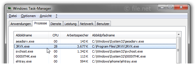 Windows Task-Manager mit 3RVX