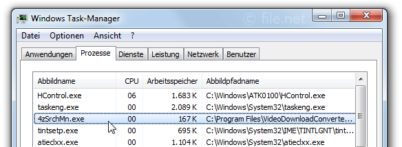 Windows Task-Manager mit 4zSrchMn