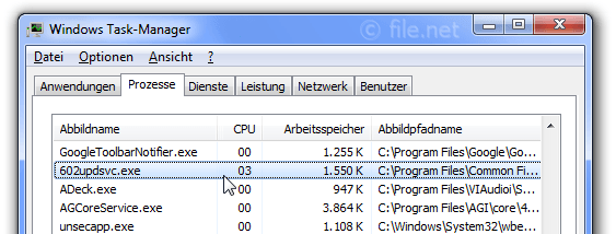 Windows Task-Manager mit 602updsvc