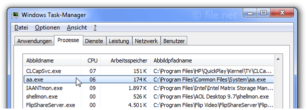 Windows Task-Manager mit aa