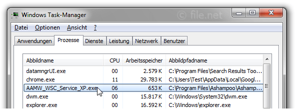 Windows Task-Manager mit AAMW_WSC_Service_XP