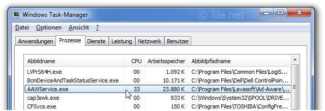 Windows Task-Manager mit AAWService