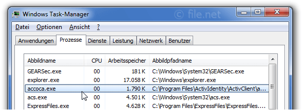 Windows Task-Manager mit accoca