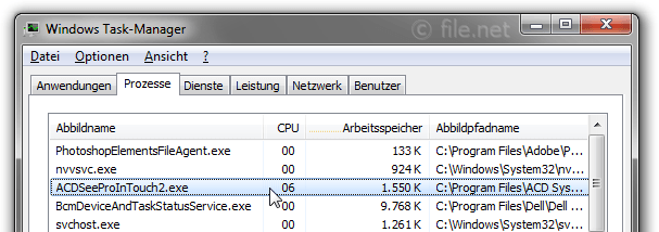 Windows Task-Manager mit ACDSeeProInTouch2