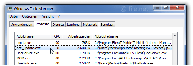 Windows Task-Manager mit ace_update