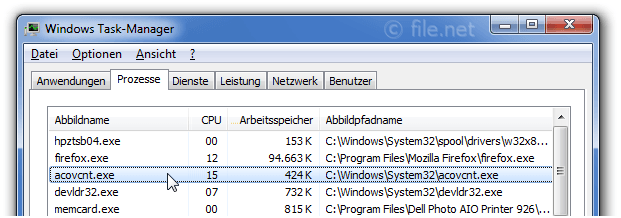 Windows Task-Manager mit acovcnt
