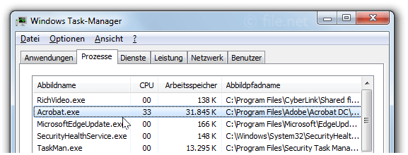 Windows Task-Manager mit Acrobat