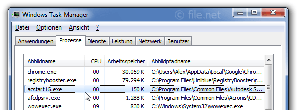 Windows Task-Manager mit acstart16