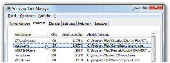 Windows Task-Manager mit AcSvc