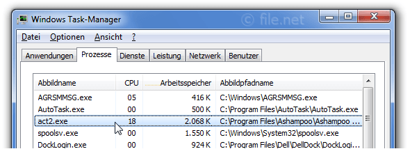 Windows Task-Manager mit act2