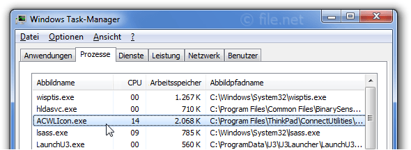 Windows Task-Manager mit ACWLIcon