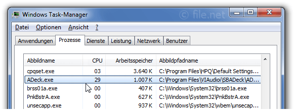 Windows Task-Manager mit ADeck