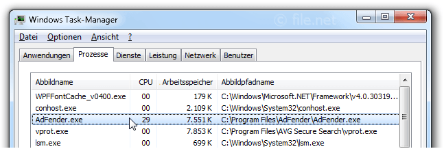 Windows Task-Manager mit AdFender