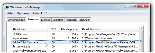 Windows Task-Manager mit AdobeCollabSync