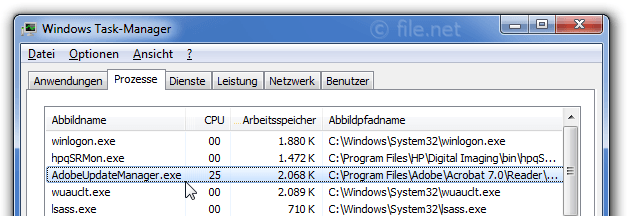 Windows Task-Manager mit AdobeUpdateManager