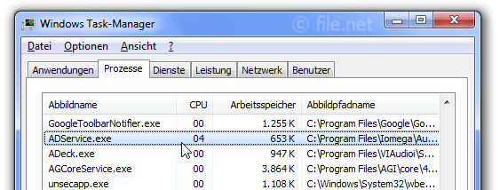 Windows Task-Manager mit ADService