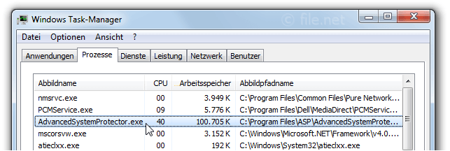 Windows Task-Manager mit AdvancedSystemProtector