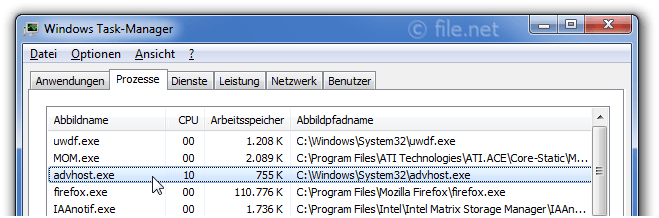 Windows Task-Manager mit advhost