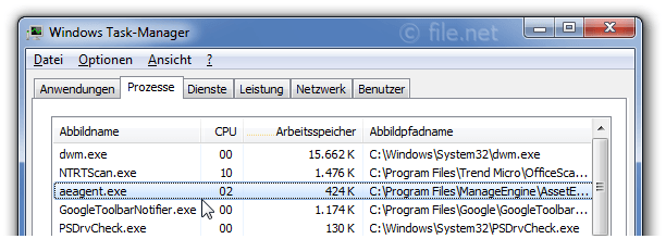 Windows Task-Manager mit aeagent