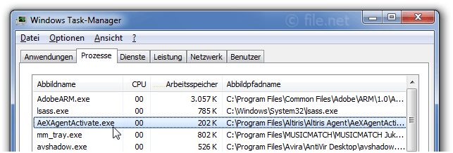 Windows Task-Manager mit AeXAgentActivate