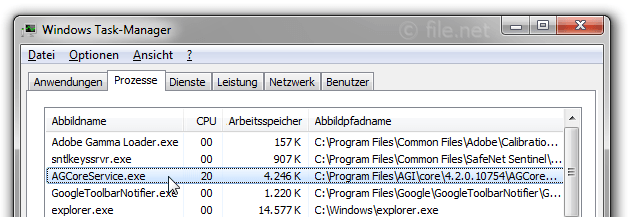 Windows Task-Manager mit AGCoreService