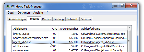 Windows Task-Manager mit agent_x64