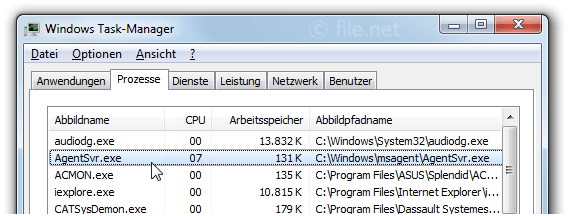 Windows Task-Manager mit AgentSvr