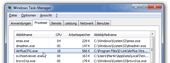 Windows Task-Manager mit AirPlusCFG