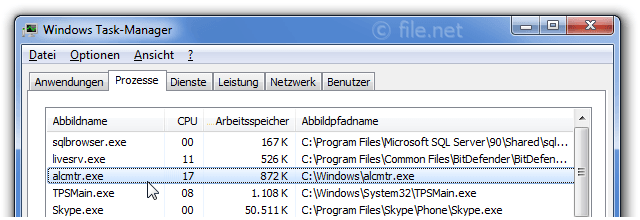 Windows Task-Manager mit alcmtr