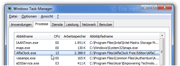 Windows Task-Manager mit AlfaClock