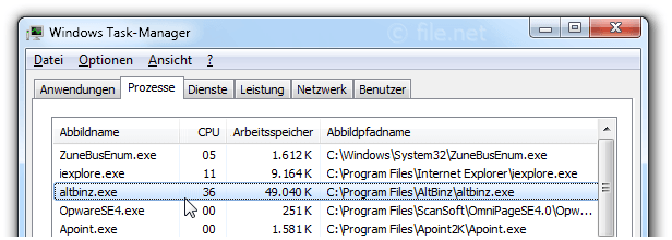Windows Task-Manager mit altbinz