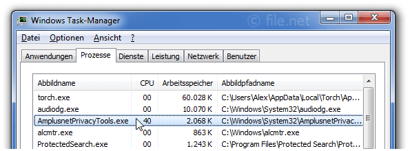 Windows Task-Manager mit AmplusnetPrivacyTools