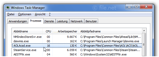 Windows Task-Manager mit AOLAcsd