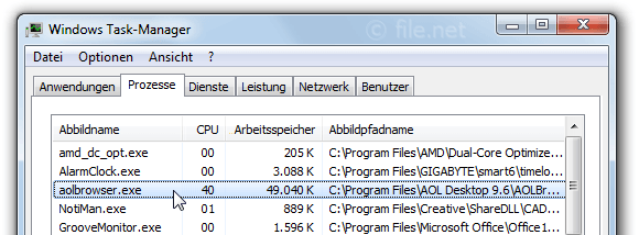 Windows Task-Manager mit aolbrowser