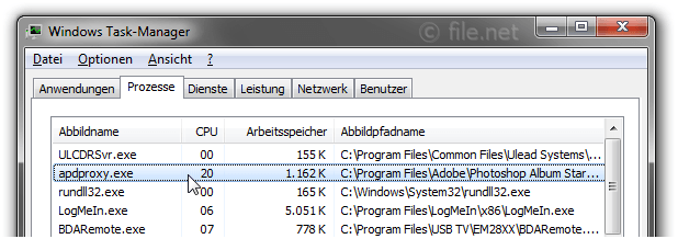 Windows Task-Manager mit apdproxy