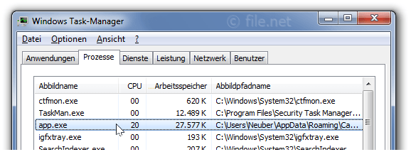 Windows Task-Manager mit App
