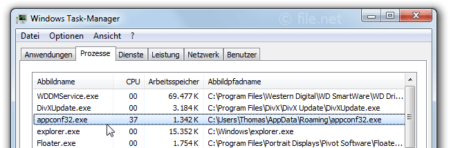 Windows Task-Manager mit appconf32