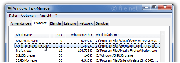 Windows Task-Manager mit ApplicationUpdater
