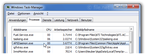Windows Task-Manager mit APSDaemon