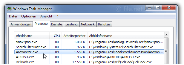 Windows Task-Manager mit ArcMonitor