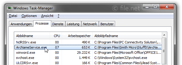 Windows Task-Manager mit ArcNameService