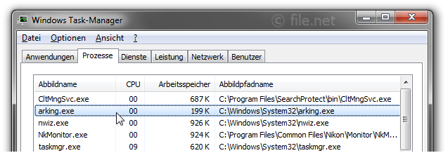 Windows Task-Manager mit arking