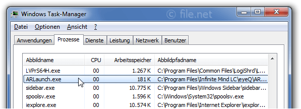 Windows Task-Manager mit ARLaunch