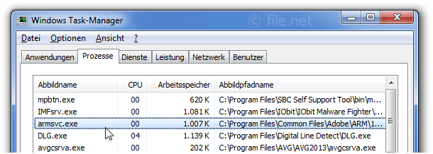 Windows Task-Manager mit armsvc