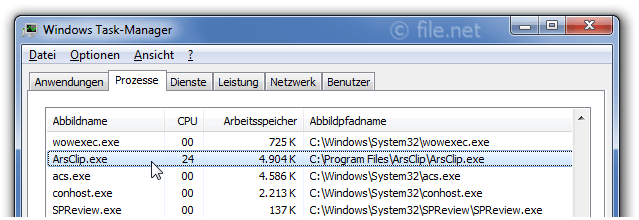 Windows Task-Manager mit ArsClip