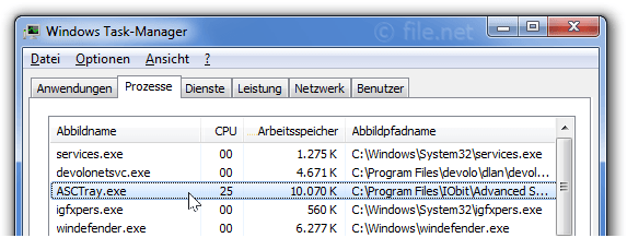 Windows Task-Manager mit ASCTray