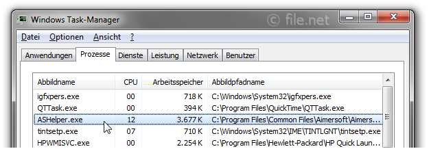 Windows Task-Manager mit ASHelper