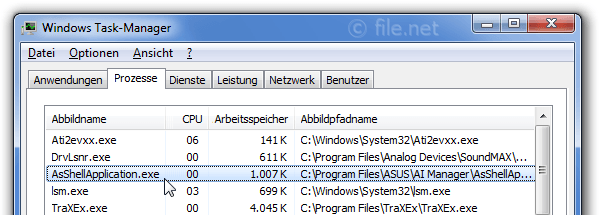 Windows Task-Manager mit AsShellApplication