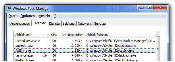 Windows Task-Manager mit AstSrv