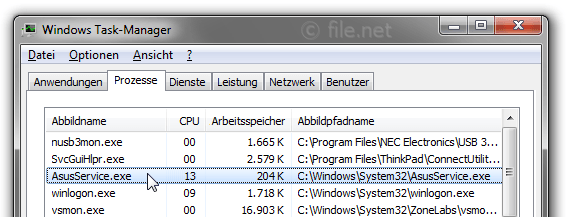 Windows Task-Manager mit AsusService